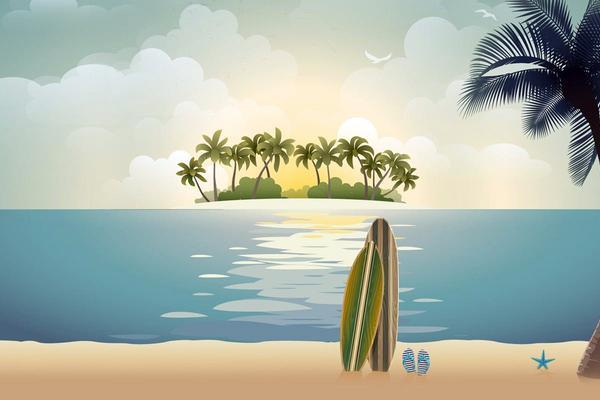 海滩椰树自然风景PPT背景图片