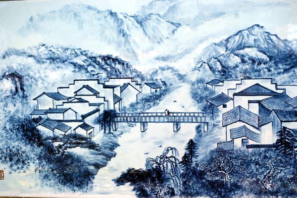 水墨徽式建筑山水图PPT背景图片