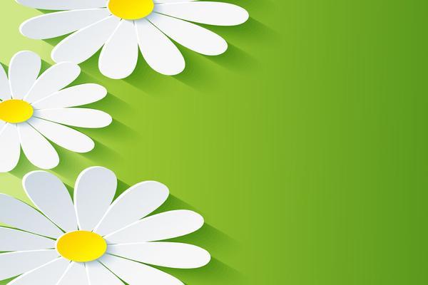 一组绿色微立体花卉叶子模型PPT背景图片