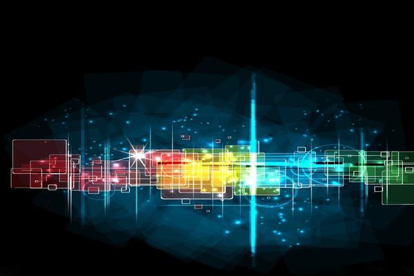 炫彩方形抽象PPT背景图片