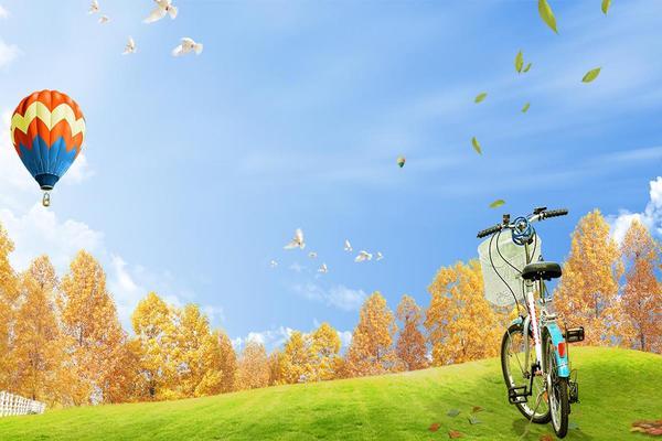 蓝天白云氢气球PPT背景图片