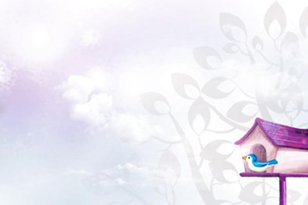 紫色淡雅卡通PPT背景图片