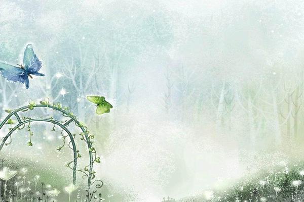 卡通淡雅蓝绿色调蝴蝶PPT背景图片