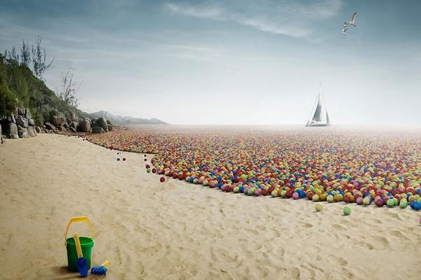 精美的海边沙滩PowerPoint背景图片