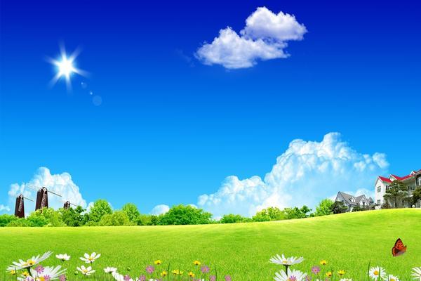 草地别墅自然风景幻灯片背景图片