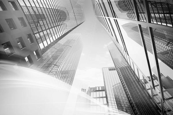 高耸的商务写字楼建筑PPT背景图片