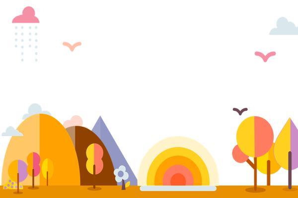 四张橙色可爱卡通幻灯片背景图片