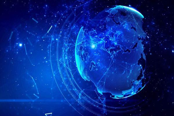 蓝色星空地球PPT背景图片