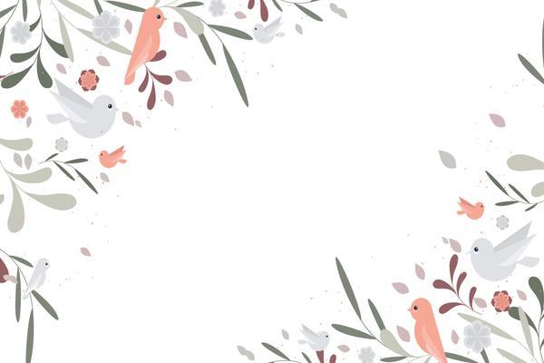 素雅花鸟插画幻灯片背景图片