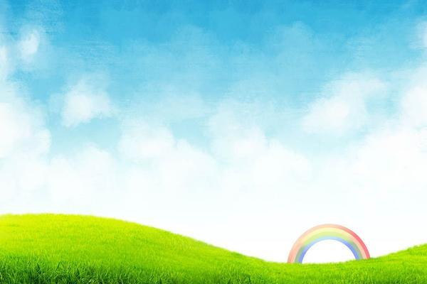 蓝天白云草地彩虹PPT背景图片
