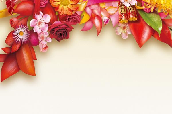 两张精致花卉PPT背景图片