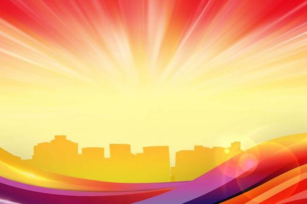 彩色抽象城市剪影PPT背景图片