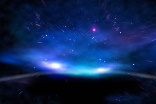 蓝色唯美星光极光PPT背景图片