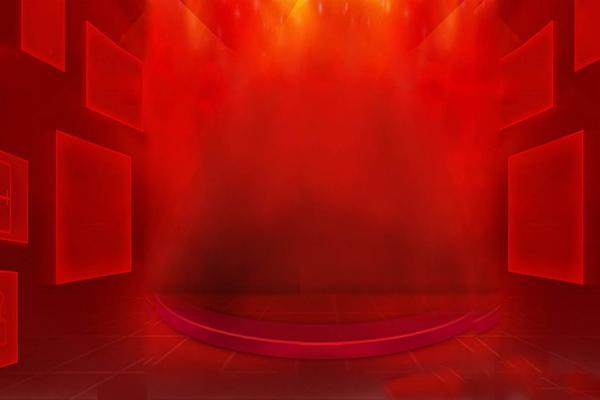 红色抽象舞台PPT背景图片