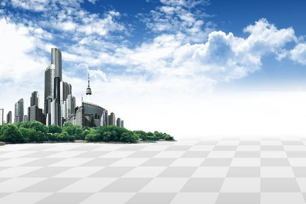 蓝天白云城市建筑PPT背景图片