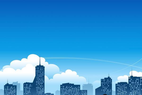 蓝色卡通扁平化城市建筑PPT背景图片