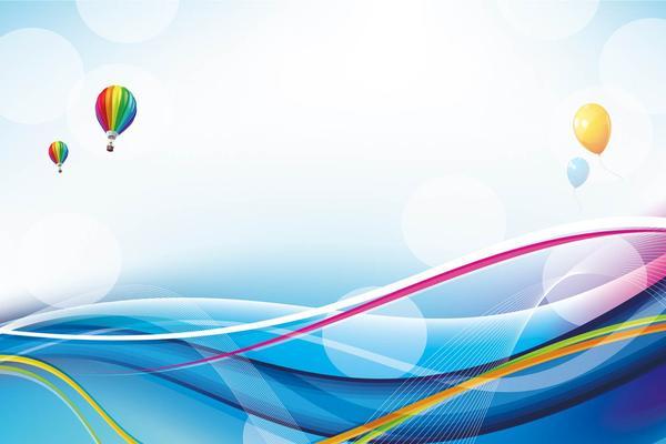 蓝色曲线热气球PPT背景图片