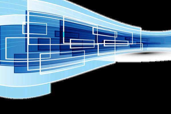 蓝色抽象方块线条PPT背景图片