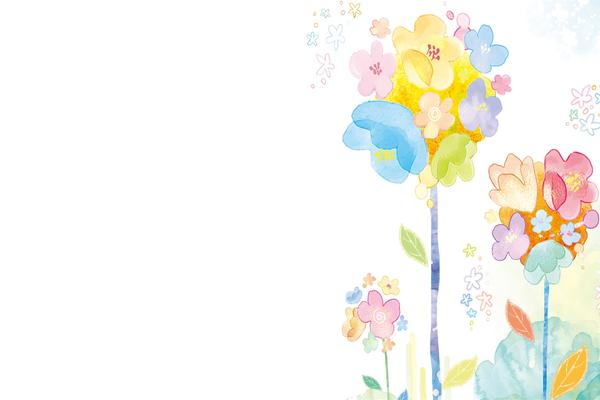 四张彩色水彩PPT背景图片