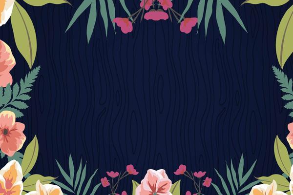 韩范水彩花卉PPT背景图片