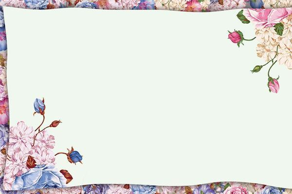 两张唯美花卉PPT边框背景图片