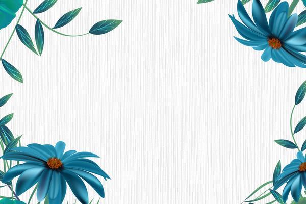 两张蓝色唯美花卉PPT背景图片