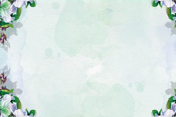 绿色水彩花卉PPT背景图片