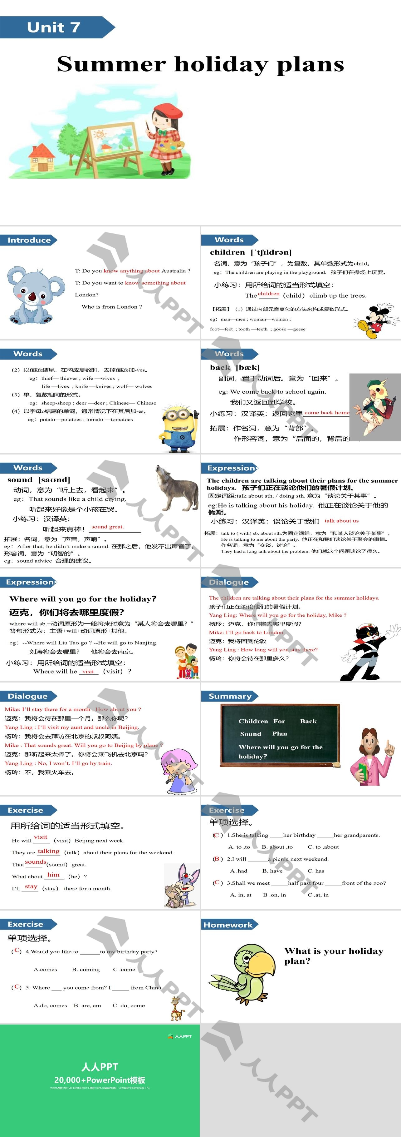 《Summer holiday plans》PPT(第一课时)长图