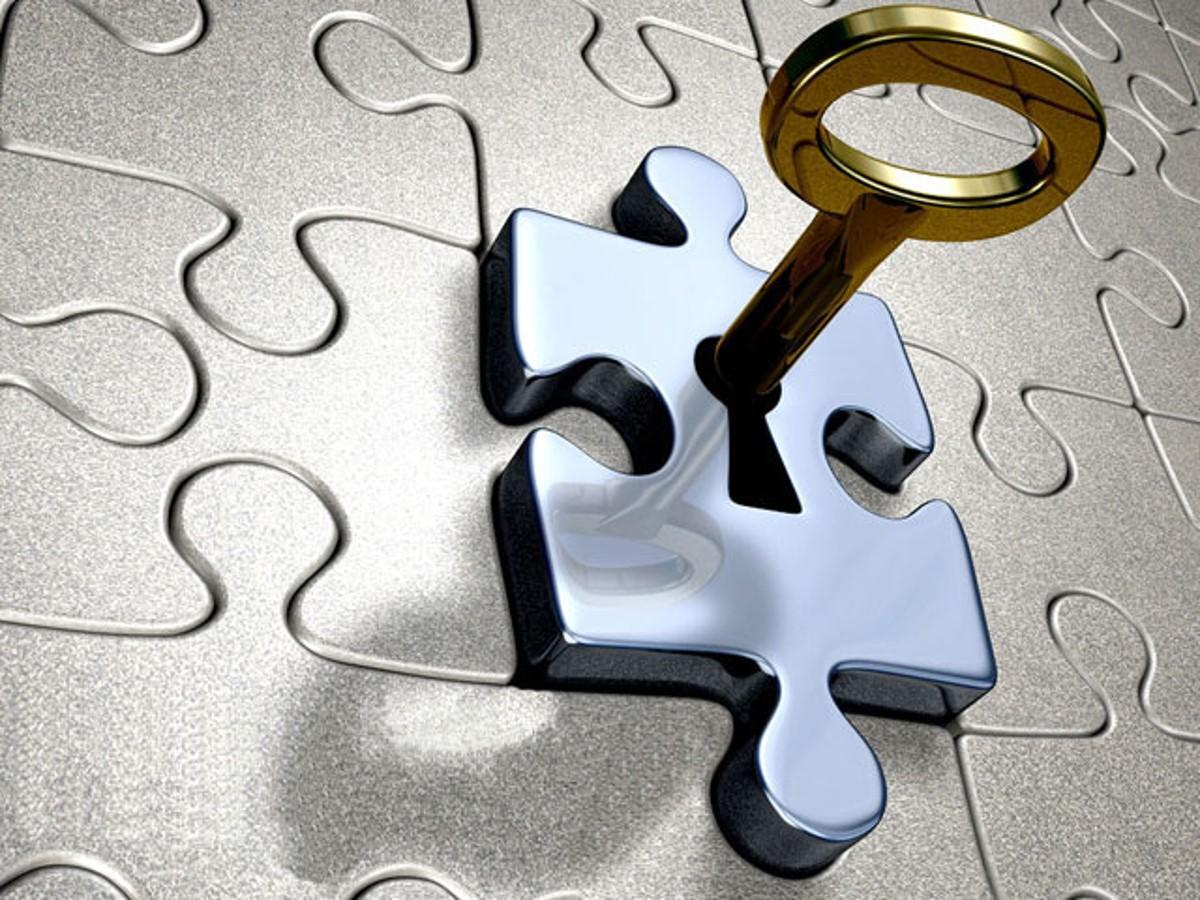 钥匙与七巧板艺术PPT模板