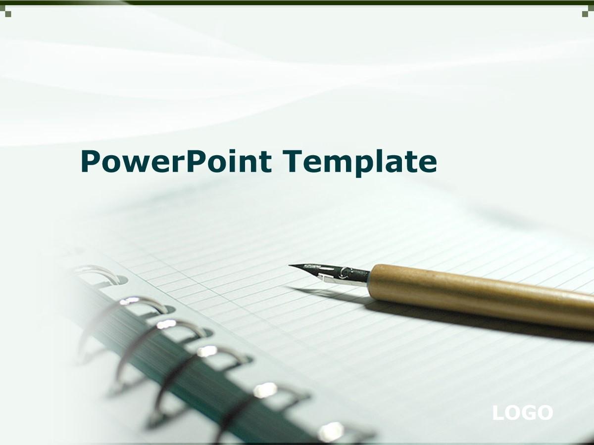 钢笔笔记本背景PPT模板 教育学习PPT模板