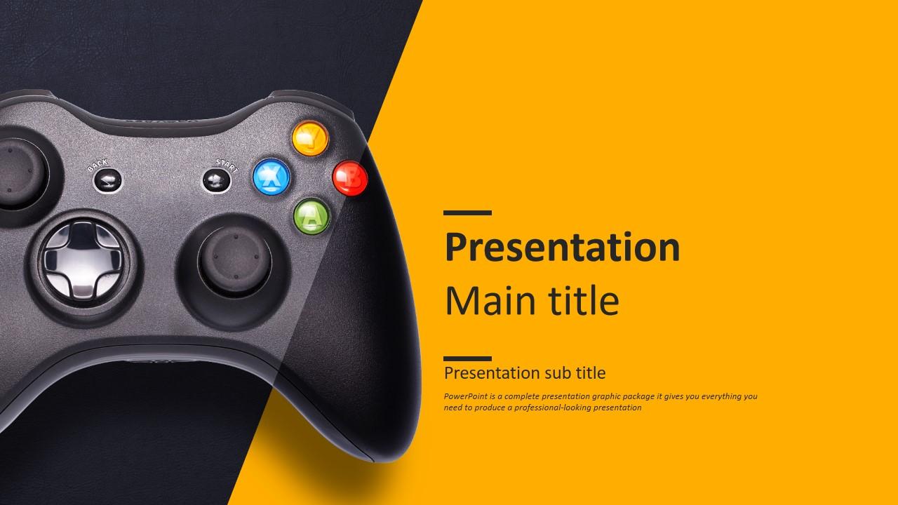 游戏产品主题扁平化激情橙欧美风PPT模板