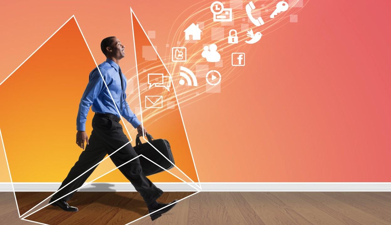 欧美移动互联网PPT模板 科技互联网移动APP展示PPT