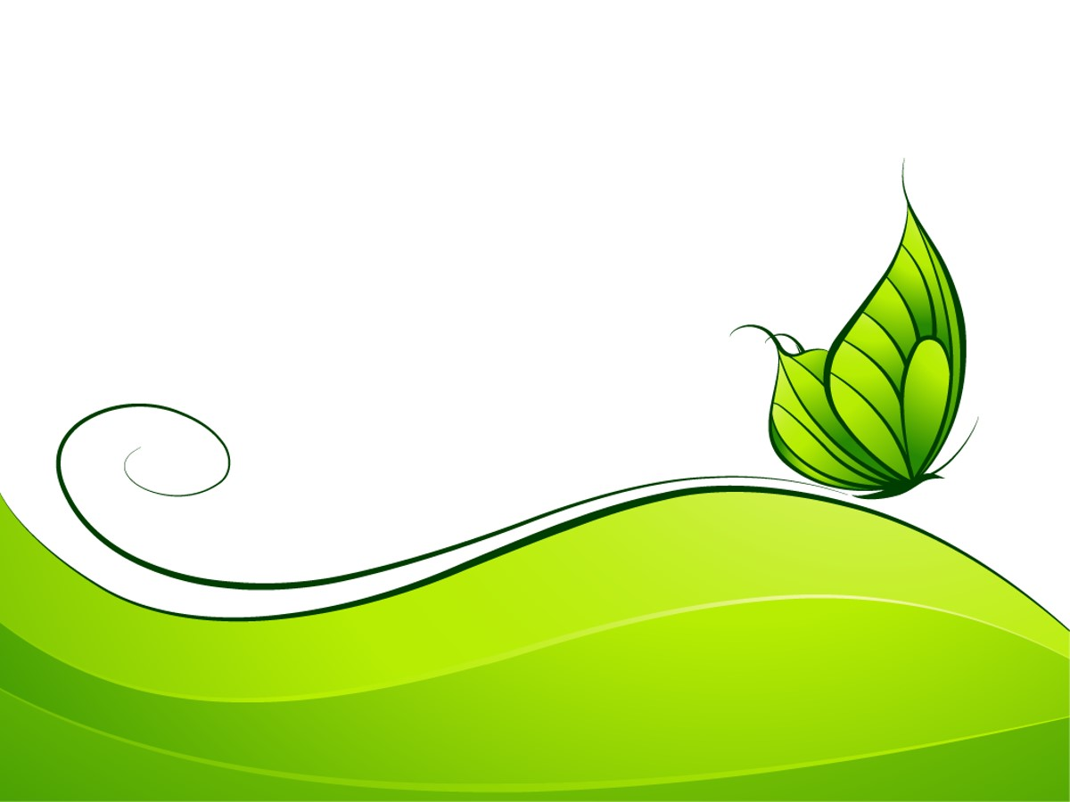 简洁卡通的绿蝴蝶背景PPT模板 卡通幻灯片