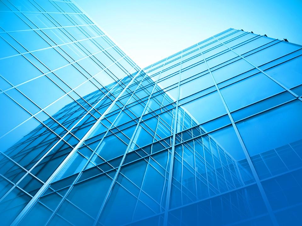 大气蓝色建筑背景PPT模板 建筑幻灯片模板