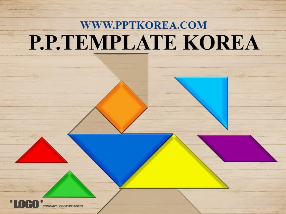 几何形状创意木纹背景PPT模板