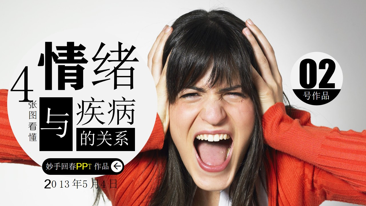 4张图看懂情绪与疾病的关系知识教育性PPT模板