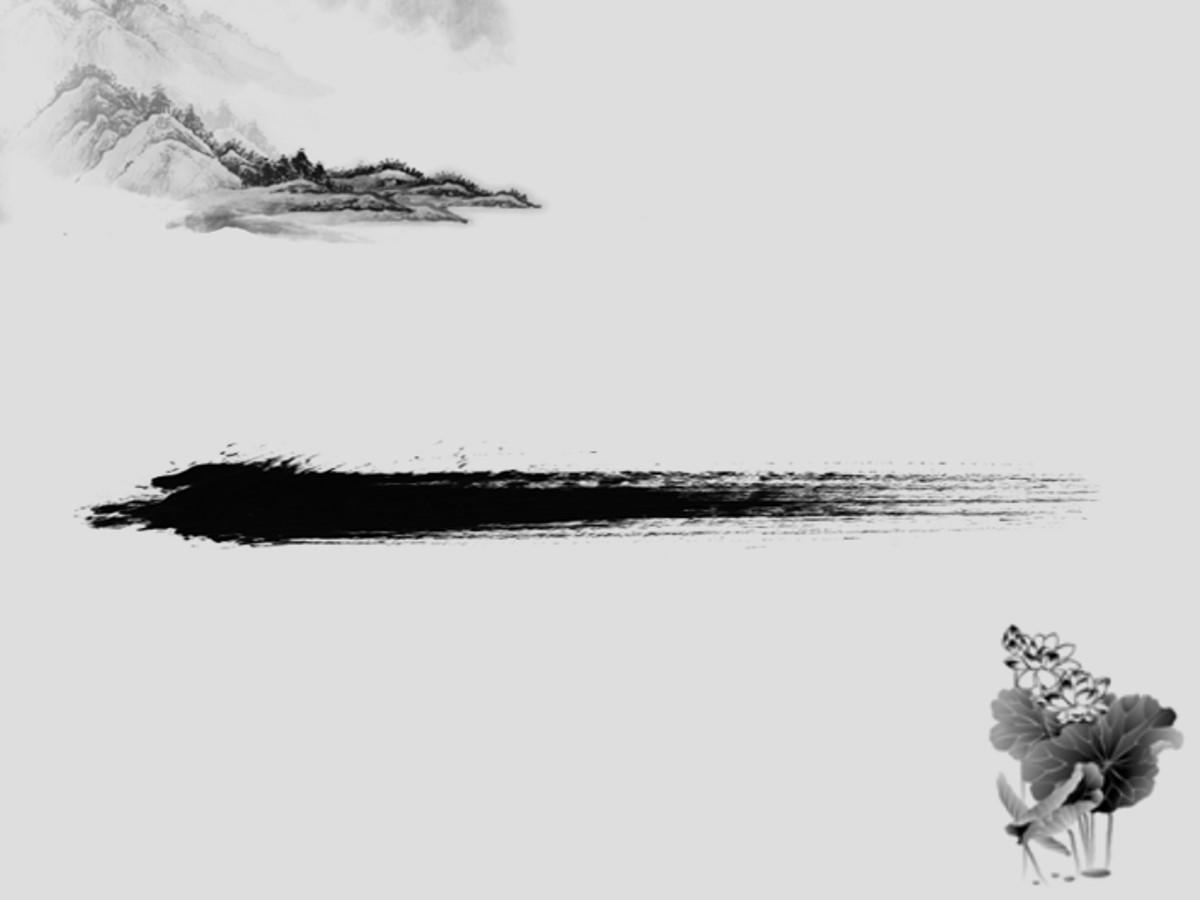 简洁的中国画背景中国风PPT模板