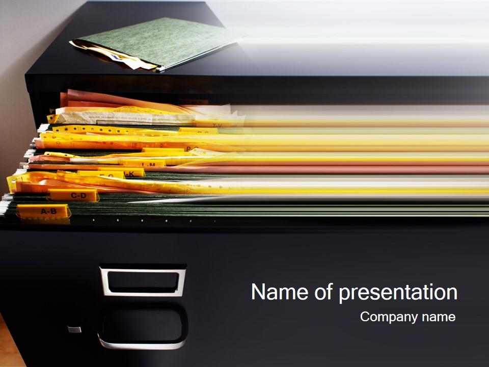 装满文件的文件夹商务PPT模板