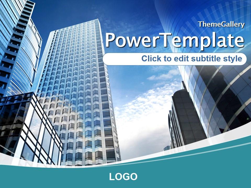 大楼背景欧美风经典商务PPT模板