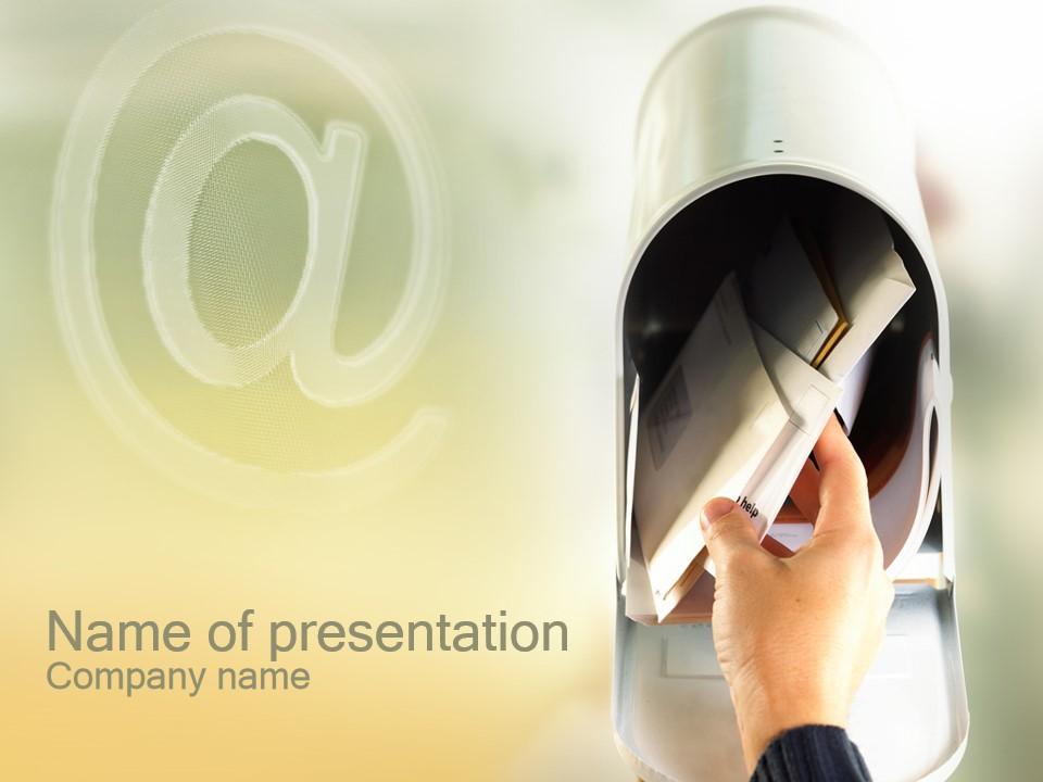 信箱收取信件PPT模板