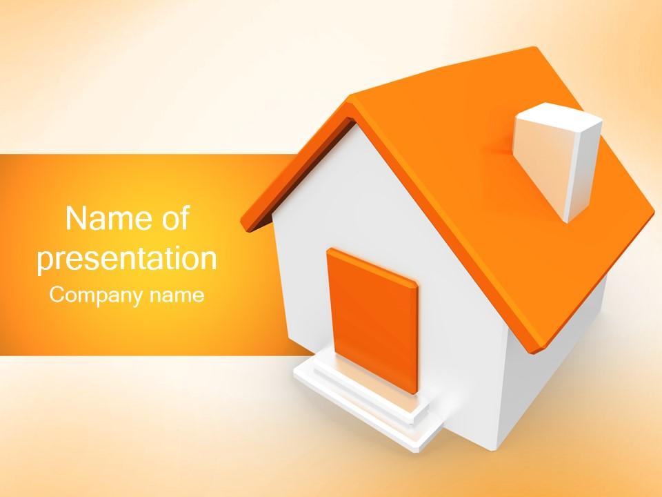 橙色3D立体小房子PPT模板