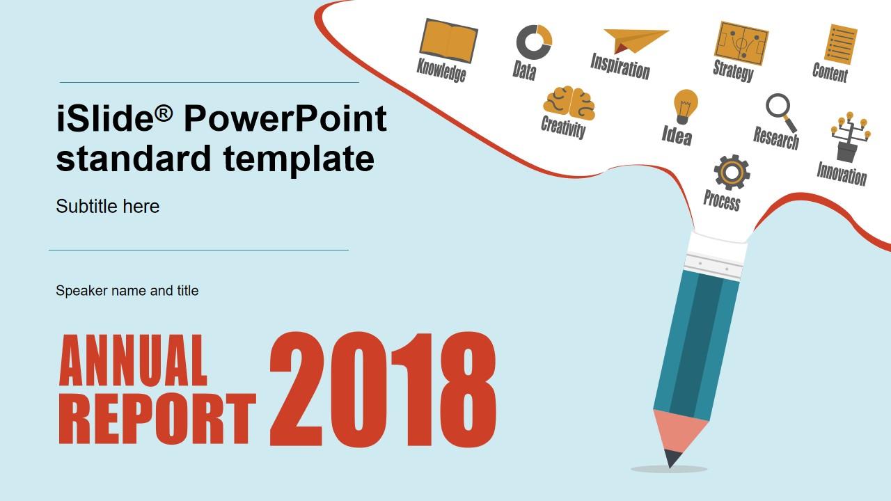 铅笔创意封面精美大气卡通风商务工作总结报告PPT模板