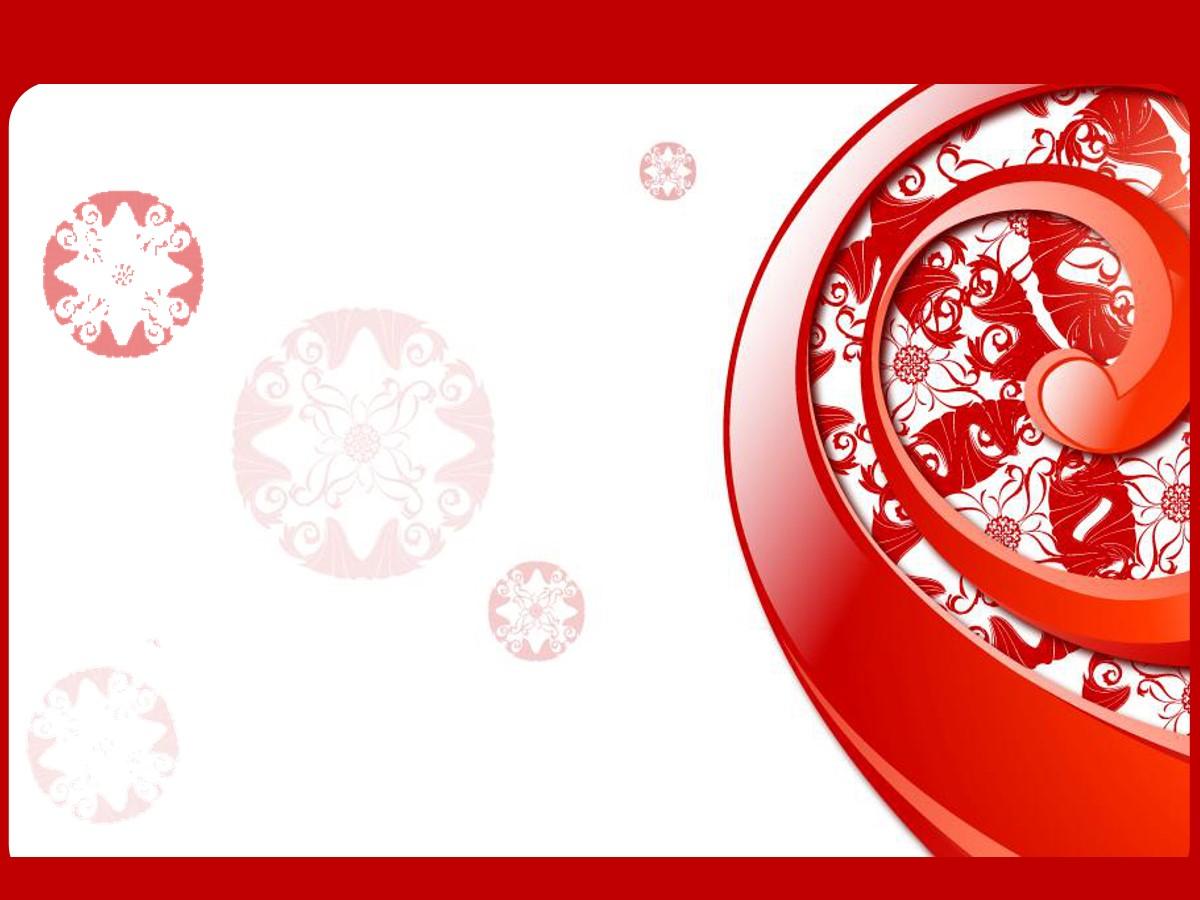 红色艺术花纹背景PPT模板
