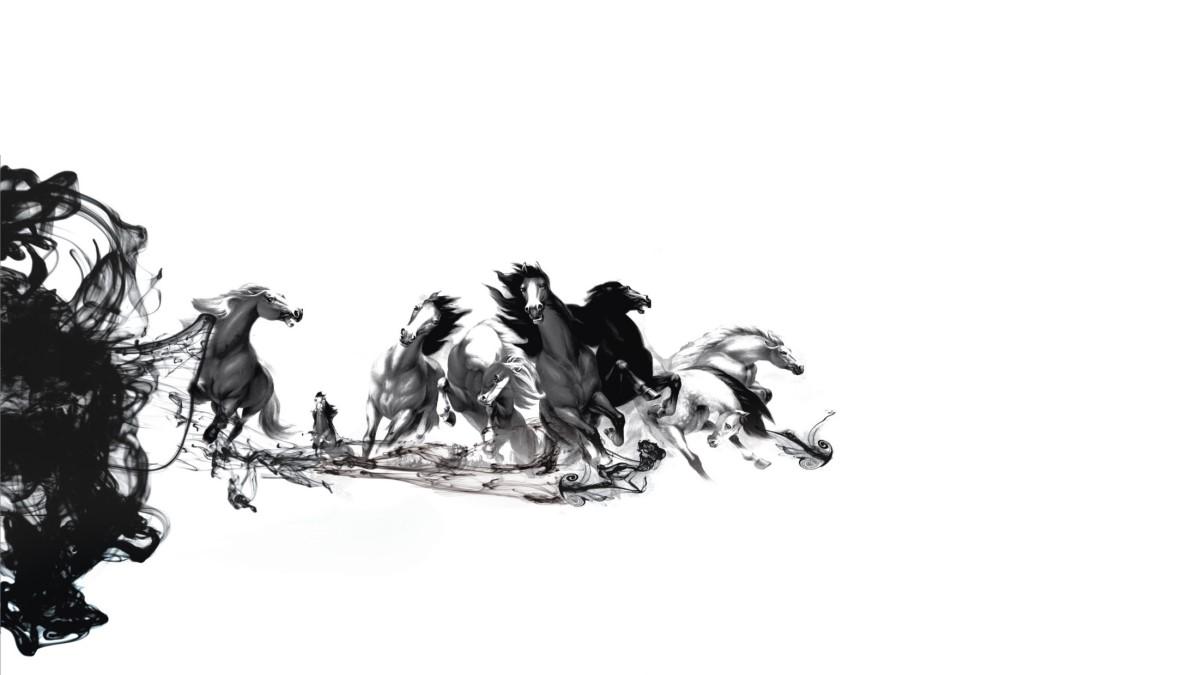 水墨画《马儿》中国风PowerPoint背景图片
