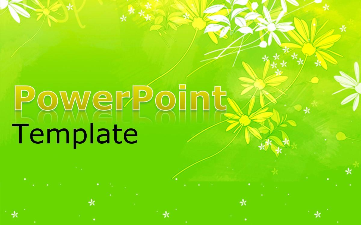 绿色卡通花朵背景通用PPT模板