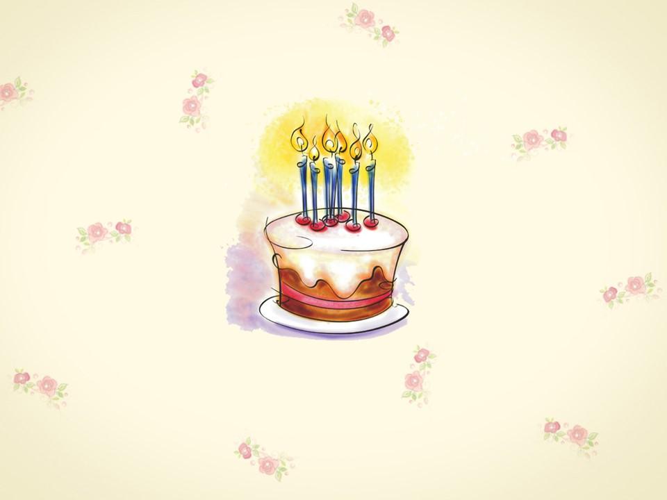 卡通蛋糕儿童生日PPT模板