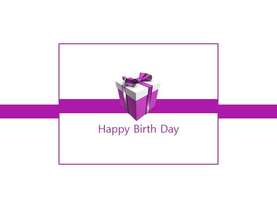 Happy Birth Day紫色礼盒生日主题PPT模板
