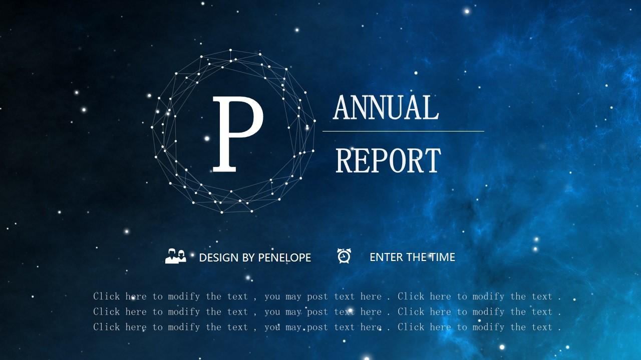 唯美蓝色星空背景点线圈创意半透明图表iOS风格PPT模板
