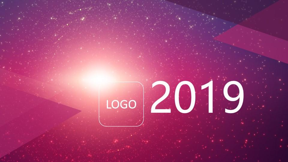 粉色动态星空背景的iOS风格简洁时尚PPT模板