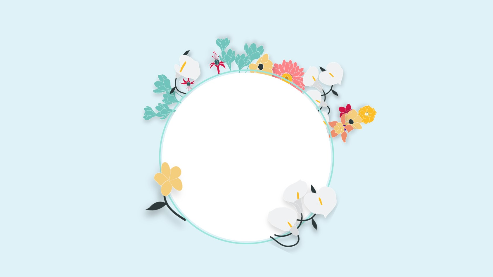 蓝色简洁清新文艺花卉PPT背景图片